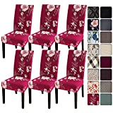 SearchI Dining Room Chair Covers Slipcovers Set of 6, Spandex Super Fit Stretch Removable Washable Kitchen Parsons Chair Covers Protector for Dining Room,Hotel,Ceremony,Red+Flowers