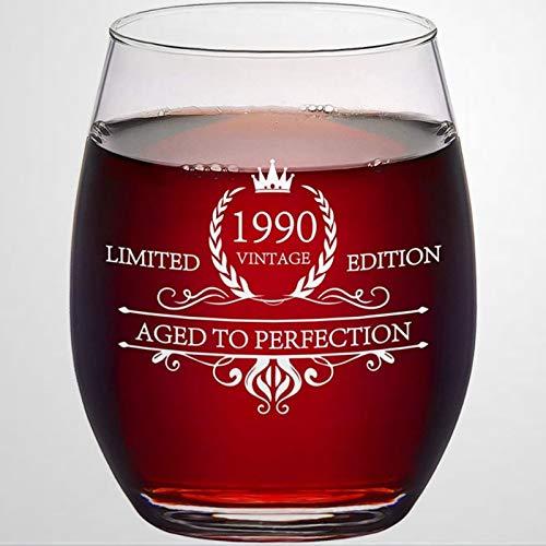 Copa de vino de cristal sin tallo, estilo vintage 1990, 30 años a la perfección, ideal para padre, madre, niño o novia, amiga