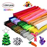 Pipe Cleaners, Craft Chenille Stems 1080pcs 30 Assorted Colors, 100eyes 100pcs Pom Poms for DIY Arts Creative...