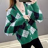 ZXCHB Ropa de otoño de Cardigan de suéter for mujer, chaqueta de punto femenino y suéter de desgaste de otoño (Color : Green, Size : XL code)