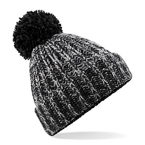 Beechfield - Bonnet tricoté avec Pompon - Adulte Unisexe (Taille Unique) (Noir)
