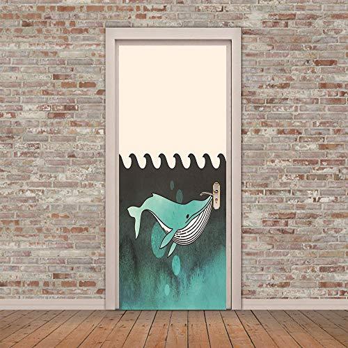 XKLBO Deursticker Muurschilderingen Fotobehang Decal, Haai,38,5 * 200Cm * 2 Stks 3D Woonkamer Slaapkamer Kantoor Huis Home Decor Kwekerij Restaurant Café Hd Creatieve Poster