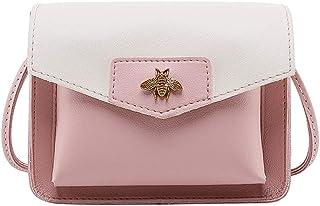 Wultia - Shoulder Bag Women Contrast Laminated Single Shoulder Bag Messenger Bag bolso Mujer *0.92 Pink