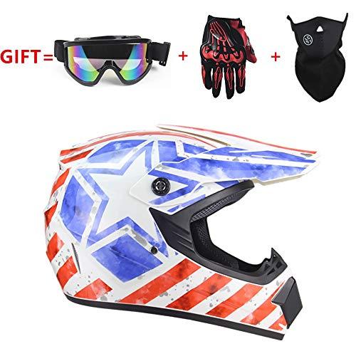 QXFJ Motorradhelm,Fullface Helm Motorradhelm Downhill Motocross Helm Mountainbike Integralhelm Fahrradhelm Motorrad Integralhelm Ghost Fire DOT Zertifizierung Unisex