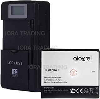 OEM Battery TLi020A1 for Alcatel TRU 5065N MetroPCS w/Universal LCD Battery Charger + USB-Port (Adjustable Dock) in Non-Retail Packaging