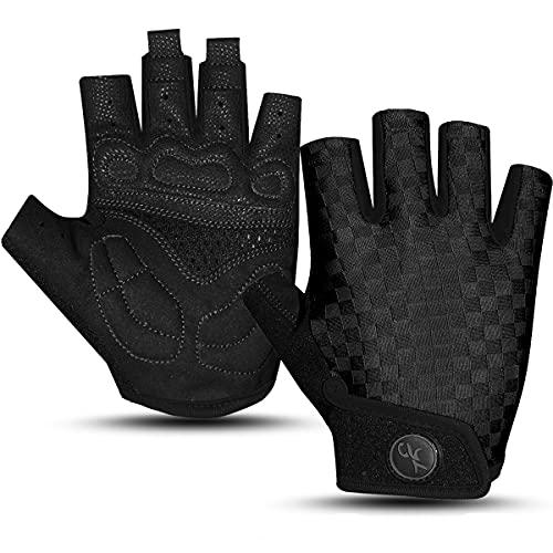 HUANLANG Bike Gloves for Men Women Cycling Gloves Half Finger Mountain Biking Gloves Gel Padded Anti Slip Breathable Fingerless Motorcycle Gloves for Gym Bicycle Workout Gloves