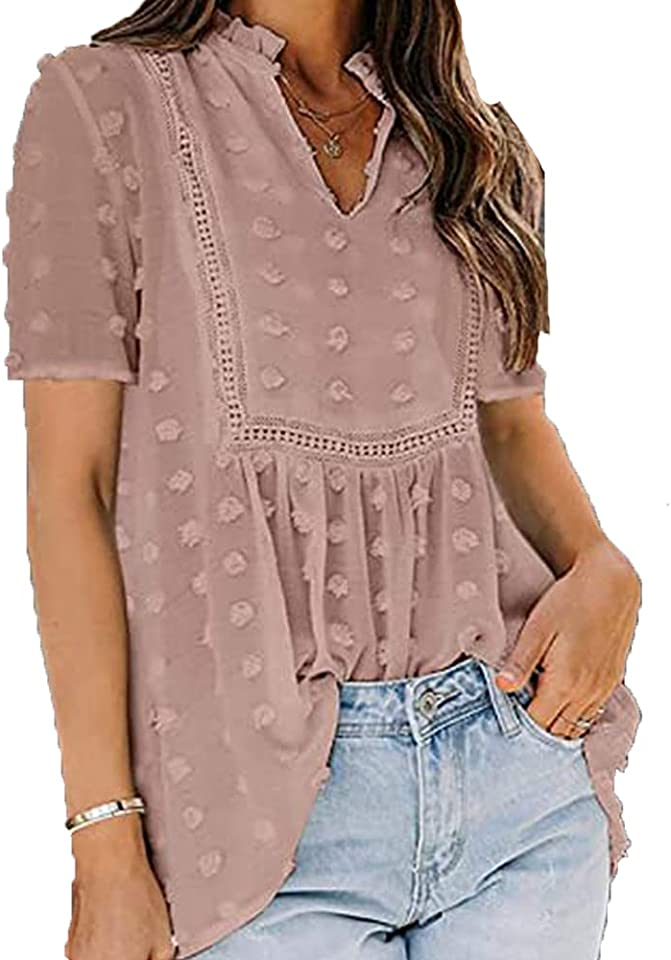 BAINA Damen Bluse Elegant Chiffon Oberteile Lose V-Ausschnitt Einfarbig Vintage Tops Kurzarm Sexy Tunika Spitzen Casual Shirt S - XL
