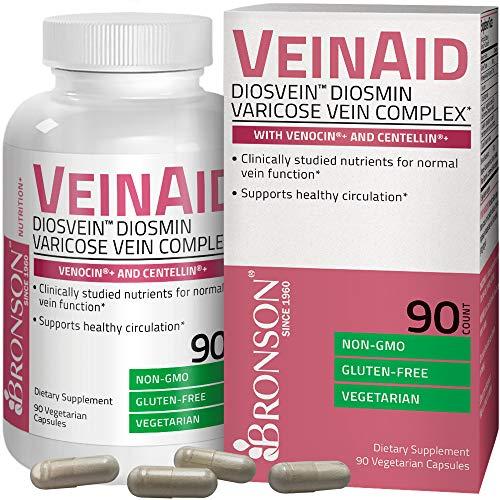 Bronson VeinAid DiosVein Diosmin Varicose Vein Complex with Venocin & Centellin, 90 Vegetarian Capsules