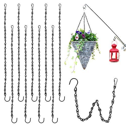 Herefun 9 Pezzi Catena Sospesa in Metallo, 50 cm Catena Appesa per Vaso di Fiori, Ganci per Appendere la Catena, Catena per Appendere per Mangiatoie per Uccelli, Giardino Balcone Decorazioni