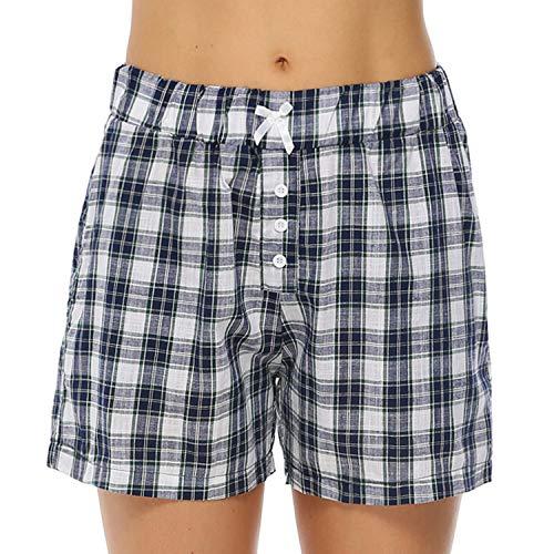 Hawiton Pantalon Pijama Mujer Corto Verano de 100% Algodón