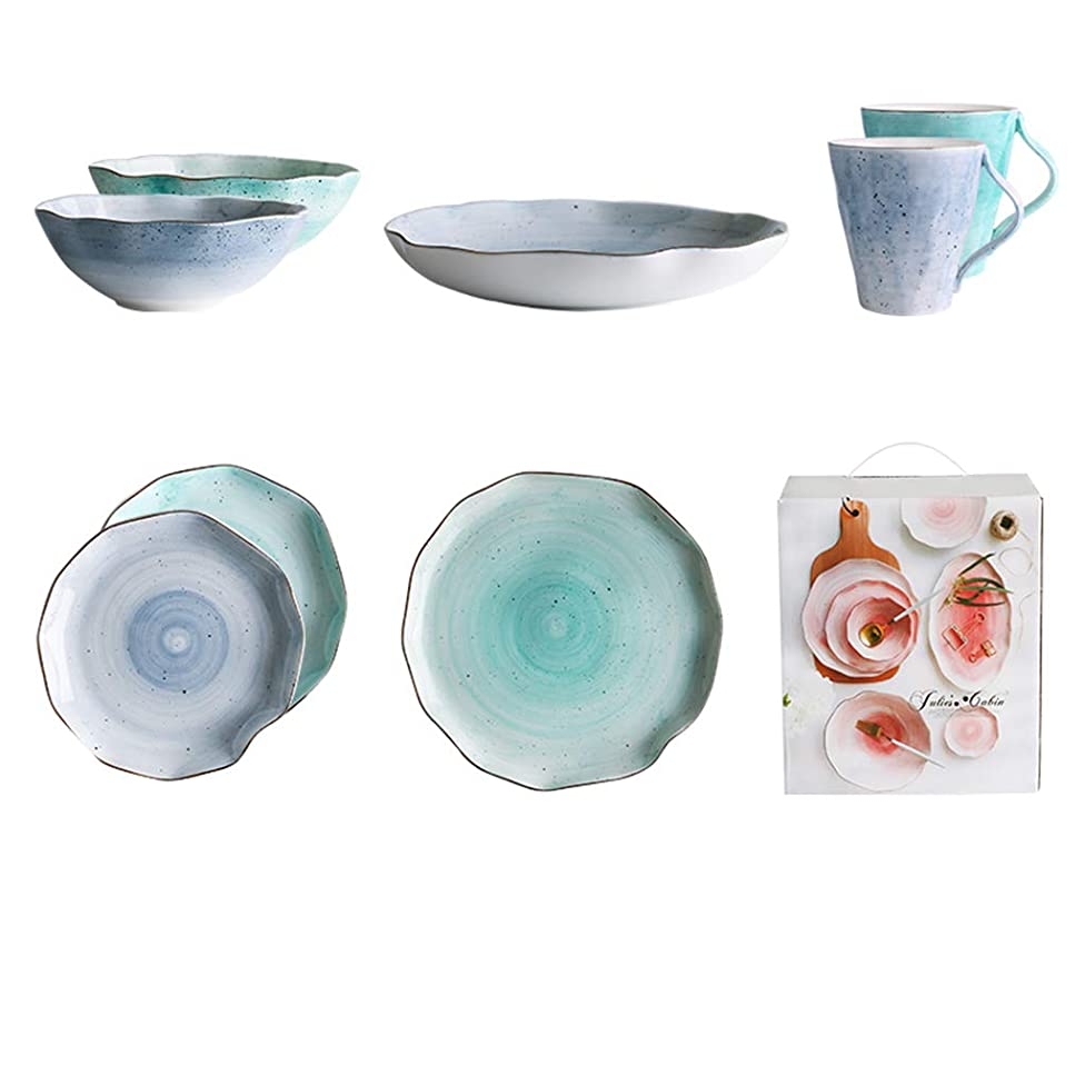 Yilian Canjvtaozhuang Creative Phnom Penh Couple Ceramic Cutlery Set Home Dish Rice Bowl Soup Plate 8 Sets (Color : Blue+Green)
