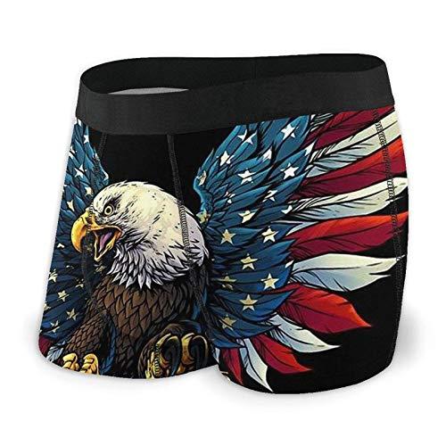 LREFON Herrenunterwäsche American Flag Eagle Herren Boxershorts Trunks Soft Training Klassisches schweißfestes Bikinihöschen