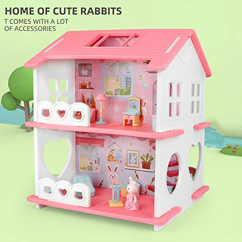 25 PCS Doll House for Little Girls, 2-Story Dollhouse and...