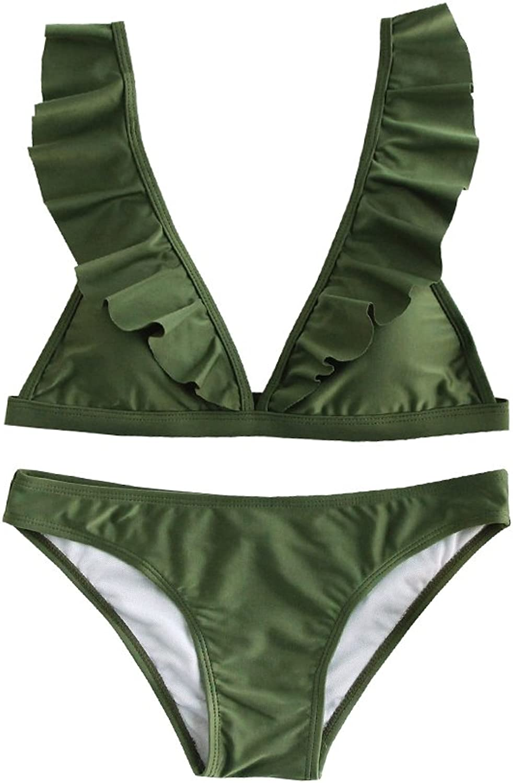 GAMISOTE Womens Ruffle Bikini Swimsuits Set Cute Padded Bathing Suits Push Up Two Piece