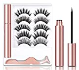 5 Pairs Magnetic Eyelashes Kit, JOMARTO Reusable False Magnetic Lashes with Applicator Waterproof Magnetic Eyelashes Kit for Any Occasion
