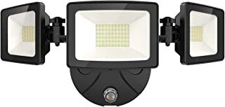 Onforu 50W Dusk to Dawn Flood Light with Photocell, 5000lm LED Security Lights, IP65 Waterproof Outdoor Three-Head Flood Lights, 5000K Daylight White Wall Light for Garage Entryways Yard