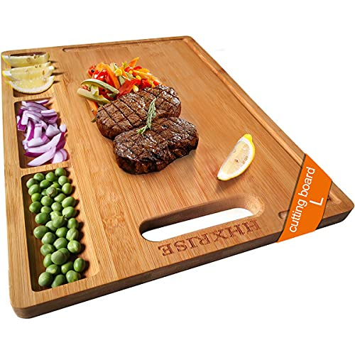 HHXRISE Large Organic Bamboo Cutting Board For Kitchen, With 3 Built-In Compartments And Juice...