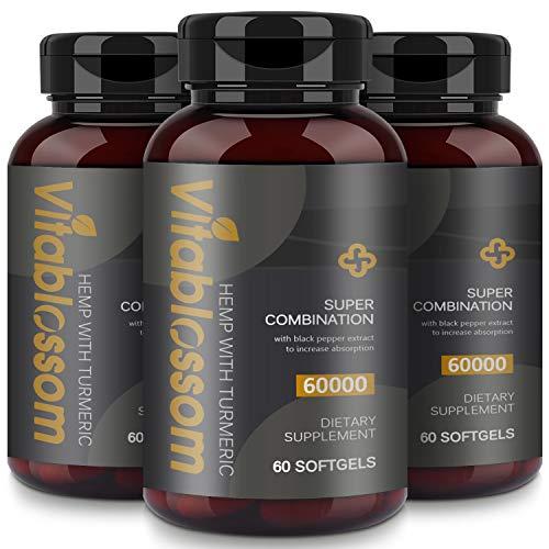 Capsules 60000MG, with Turmeric Curcuminoids & Black Pepper Extract, Advanced Absorption Vegan Friendly Formula Softgels - 60 Capsules (Turmeric 3PCS)
