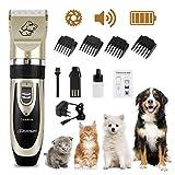 Wilktop Cortapelos Perros, Máquina de Cizallamiento Electrónico Cortapelos Máquina de Afeitar Recortadora de Baterías con 4 Peines Cortapelos Profesional para Perros y Gatos (Oro)