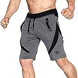 BROKIG Men's Gym Shorts, Athletic Workout Running Mesh Shorts with Pockets (XXL, Dark Grey)