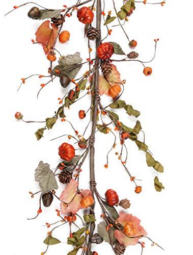 Evron International CY094 Fall Primitive Pumpkin Berries Garland in Orange and Green - 54'