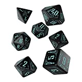 Q-Workshop Galactic Black & Blue RPG Ornamented Dice Set 7 Polyhedral Pieces