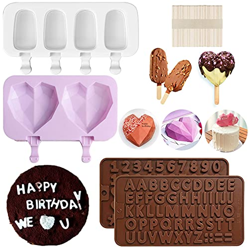 Popsicle Molds, Letter Molds and Number Chocolate Molds, Cake Molds Heart Silicone Molds BPA Free, 4Pcs Reusable Easy Release Cake Pop Mold with 50 Wooden Sticks for DIY Ice Cream Cake Decorations