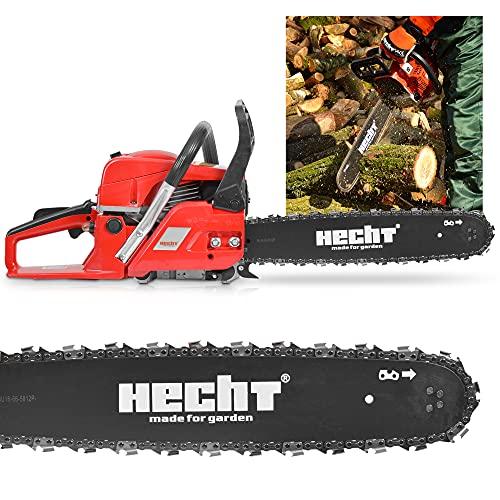 HECHT Benzin Motorsäge – 50cm ³ Hubraum – 40cm Schwert – Rückschlagbremse – Kette – Kettenschmierung – 20,8 m/s Schnittgeschwindigkeit – Motorkettensäge zum Sägen von Holz in Garten und Forst