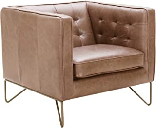 Rivet Brooke Contemporary Mid-Century Modern Tufted Leather Living Room Chair, 35