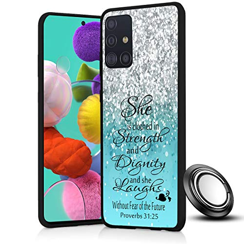 Galaxy A51 Case, Bible Verse Proverbs 31:25 Slim Anti Scratch Shockproof Silicone Soft Rubber TPU Protective Case Cover with Phone Ring Holder Stand for Samsung Galaxy A51 (4G ONLY)