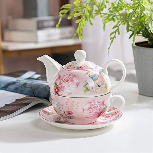 Cast Iron teapot Set One Set Afternoon Teacup Ceramics Teapot and Cup Set Including Tea Cup and Saucer for Christmas Birthday Gift Kitchen,Pink