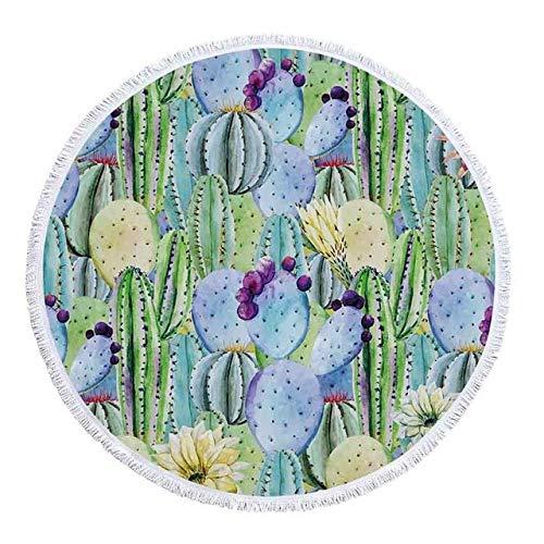 sxh2818517 Toalla de Playa Redonda con Estampado de Cactus de piña Toalla de baño de Ducha de Microfibra Toalla de Yoga de natación de Verano