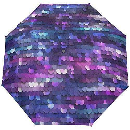 Mermaid Texture Tail Scale Fish Auto Open Umbrella Sun Rain Umbrella Anti UV Folding Compact Automatic Paraguas