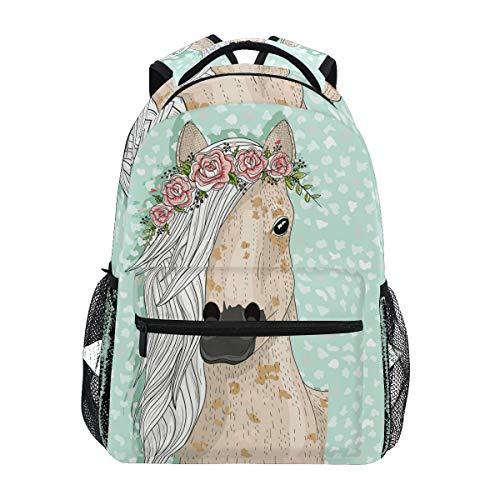 Schöne Pferd mit Blume Schulrucksack für Jungen mädchen Kinder Reisetasche Bookbag