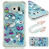 QIVSTARS Case for Samsung Galaxy S6 Soft TPU Bling Liquid Moving Quicksand Case for Women Luxury Shell Case Scratchproof Protective Slim Cover for Samsung Galaxy S6 Cat Horse YB