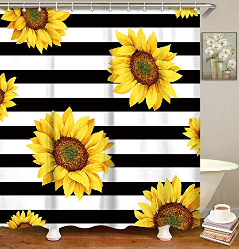 Sunflowers and Stripes Curtain