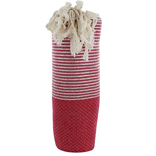 LES POULETTES Handtuch Cotton Fouta Hammam oder Strand Wabe Dunkelrot Farbe Silber Lurex Streifen