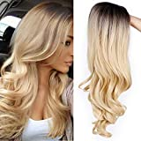 AISI QUEENS Ombre Long Curly Wig 2 Tone Blond Synthetic Cosplay Party Wigs for Women Middle Part Full Wigs with Heat Resistant Fiber
