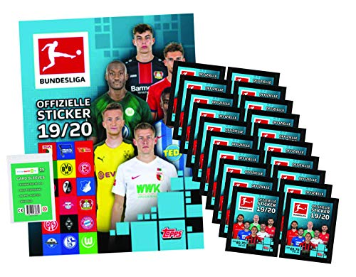 Topps Bundesliga Sticker 2019 / 2020 - Album + 20 Tüten ( 100 Sammelsticker ) + stickermarkt24de Sleeves