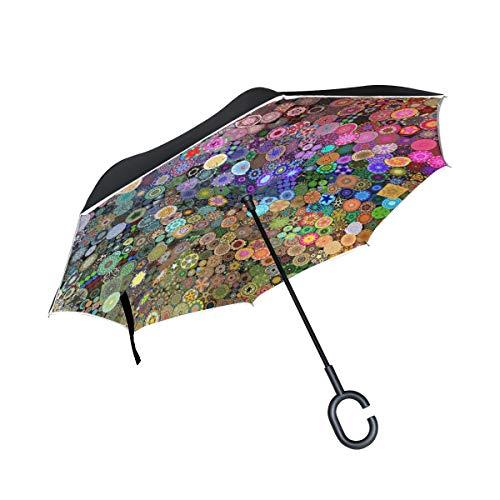 XiangHeFu - Paraguas invertido de Doble Capa, Mandala, con círculo Colorido, Plegable, Resistente al Viento, protección UV, Gran Recto, para Coche, con Mango en Forma de C