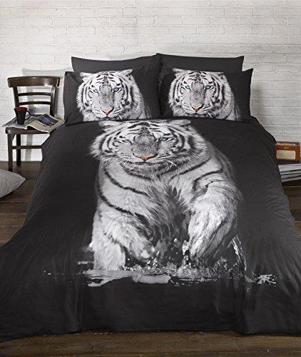 Bedding Heaven - Juego de edredón con estampado de animales fotográficos, color blanco y negro