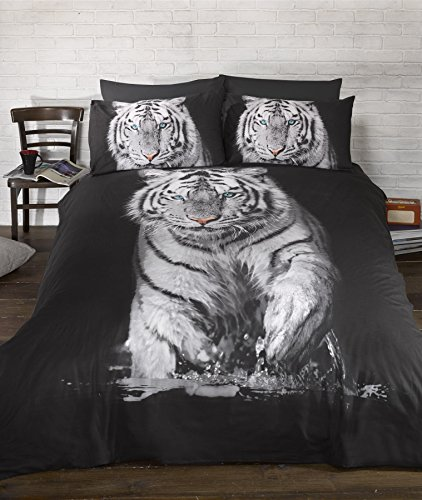 Urban Unique Tiger 3D Black Single Duvet Cover 135 x 200cm 1 Pillowcase 50x 75cm