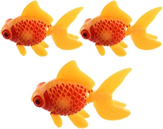 Aquarium Fish Tank Plastic Swimming Gold Fish Decoration Yellow Red 3 Pcs