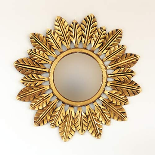 Rococo Espejo Decorativo Redondo Catalina de 80x80cm en Oro (Envejecido)