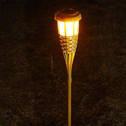 OOFWY LED Solar Intelligente Lichtsteuerung Bambus Taschenlampe Garten Lichter, 1PCS