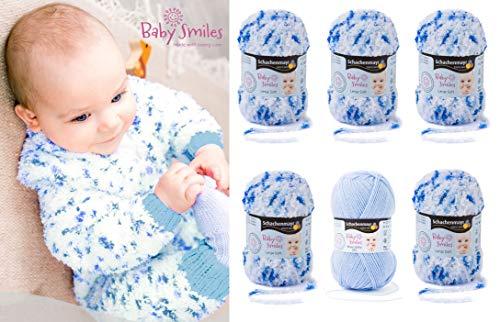 5x25 Gramm Schachenmayr Baby Smiles Lenja Soft + 1x50 Gramm Bravo Baby 185 SB Pack für ein Strampelanzug (Blau Color)