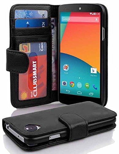 Cadorabo Hülle für LG Nexus 5 - Hülle in Oxid SCHWARZ – Handyhülle mit 3 Kartenfächern - Hülle Cover Schutzhülle Etui Tasche Book Klapp Style
