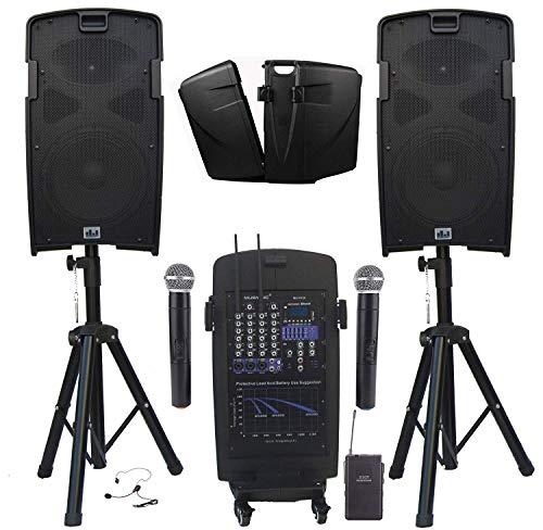 MUSYSIC M-Port PA2K 2000W Portable PA System 2x10