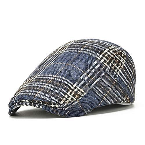 Adantico Sombrero de Invierno para Hombres Gorra Plana Boina Gorra a Cuadros Newsboy Cap (Azul)
