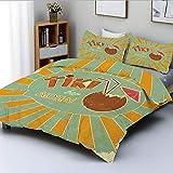 Juego de funda nórdica, diseño vintage Cóctel exótico Aspecto envejecido Aloha Fun Party Decorativo Juego de cama decorativo de 3 piezas con 2 fundas de almohada, naranja almendra verde marrón, el mej